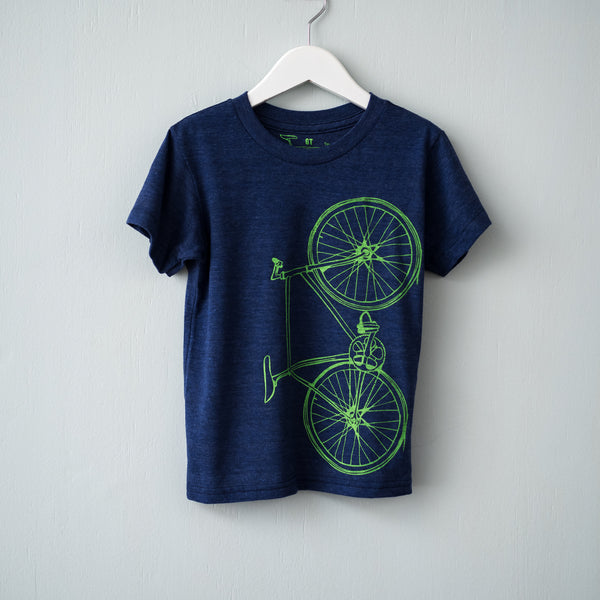 kids fixed gear bicycle toddler tshirt screenprint bike tee tri-blend