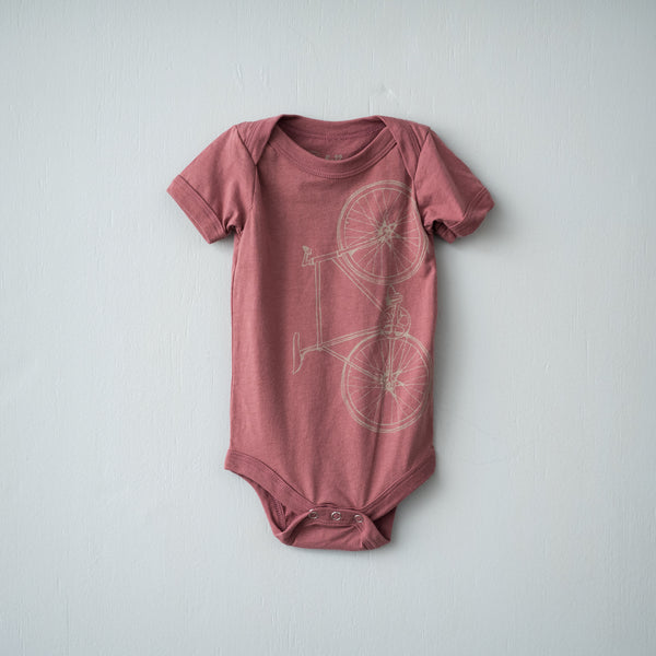 fixed gear bicycle infant one piece shirt pink screen printed baby tee