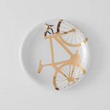 22l Gold Bicycle Dinner Plate