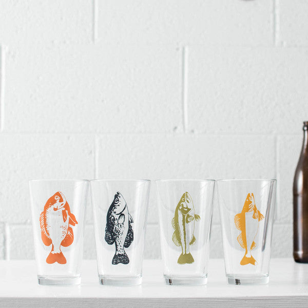 pan fish pint glassware beer glass sunfish crappie bass walleye