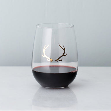 Gold Antler Stemless Wine Glass