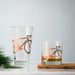 Bicycle Pint Glasses screen printed matte copper bike glass