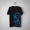 Men's Road Bike Tee, Laser Blue on Black