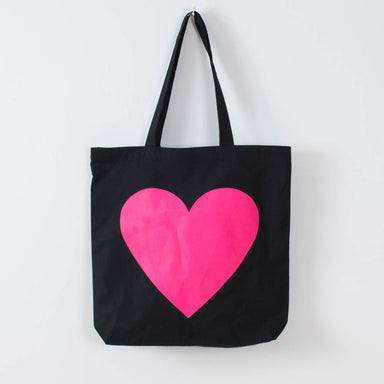Hot Pink Heart Tote - Vital Industries recycled cotton eco tote