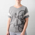 womens road bike screen printed tee bicycle tshirt gray sport stripe vneck