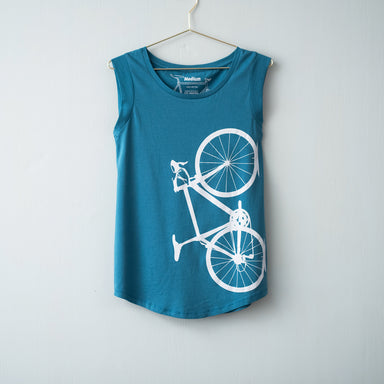 Women's Bicycle Cap Sleeve Tank blue athletic bike graphic- Vital Industries