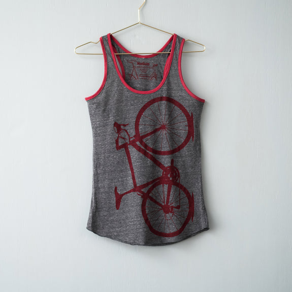 road bicycle ringer tank tshirt screen printed bike tee