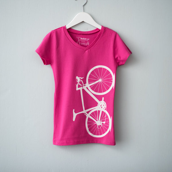 road bicycle girls tee vneck tshirt pink white screen printed shirt