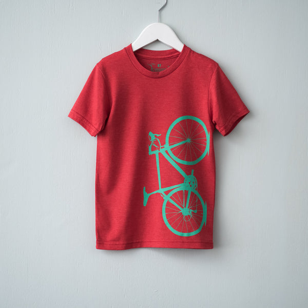 bike screen printed tshirt toddler kids bicycle tee sustainable eco