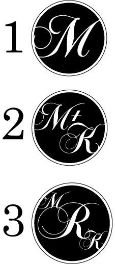 Custom circular monogram glassware designs