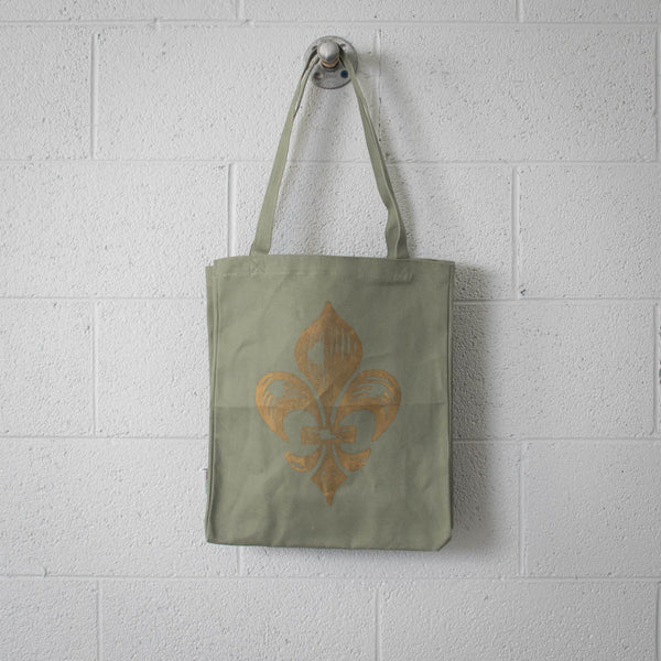 Fleur-de-lis recycled cotton tote, gold on sage, limited edition