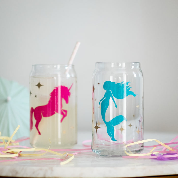Unicorn and Mermaid Can Glasses - Vital Industries
