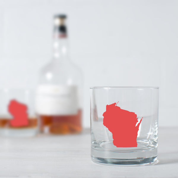 Wisconsin state silhouette cocktail glassware screen printed old fashioned rock glass
