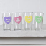 Conversation Hearts Glassware