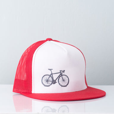 Bicycle Flat Bill Snapback Red - Vital Industries