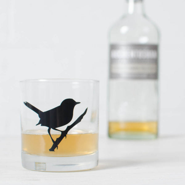 wren bird screenprinted rocks glassware dishwasher safe old fashioned glass