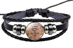 Bracelet en cuir tissé noir - So many books, so little time