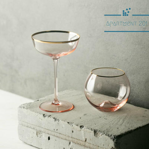 Pink Classy Cocktail Glasses Set of 2