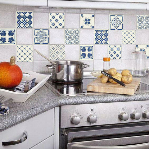 Replaced with blue and white mediterrian style tile stickers can brighten up your kitchen in no time.
