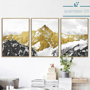 3 Panel Alpine Mountain Canvas Wall Art - Apartment 201