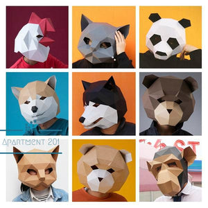DIY 3D geometric paper Animal mask - apt201
