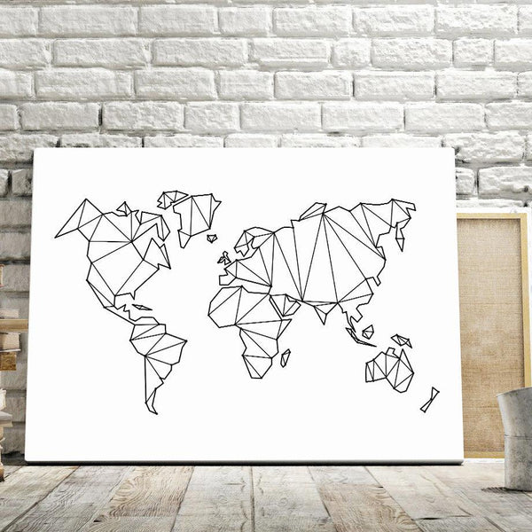 Abstract World Map Canvas Wall Art - Apartment 201