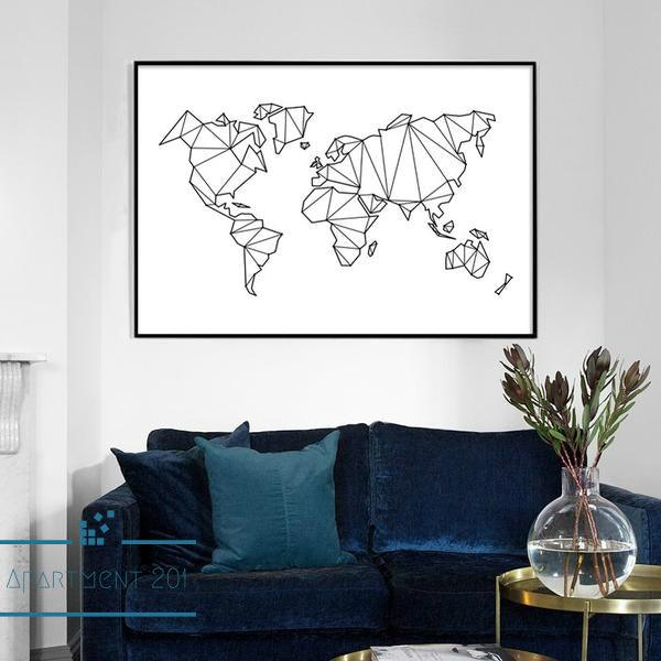 Monochrome Canvas World Map - Apartment 201
