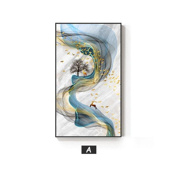 Dreamy Golden Elk Canvas Wall Art - Apartment 201