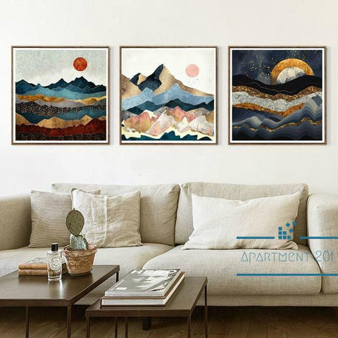Mountain Waves Nordic Landscape Canvas Wall Art - apt201