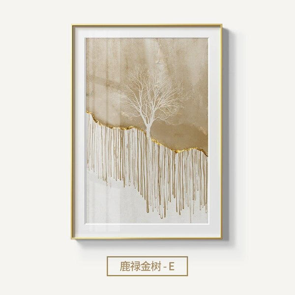 Golden Mountain Deer Canvas Wall Art - apt201