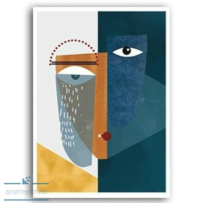Abstract Alessia Facial Figure Canvas Wall Art - Apartment 201