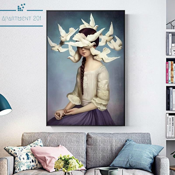 Abstract Bird Girl Canvas Wall Art - Apartment 201