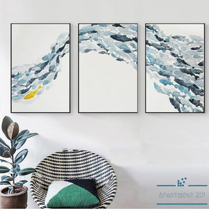 Abstract School of Fish Canvas Wall Art - Apartment 201