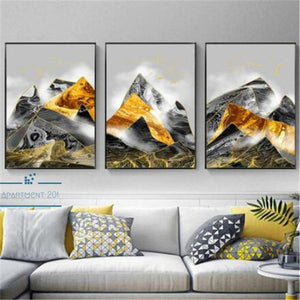 Abstract Geometric Mountain Canvas Wall Art