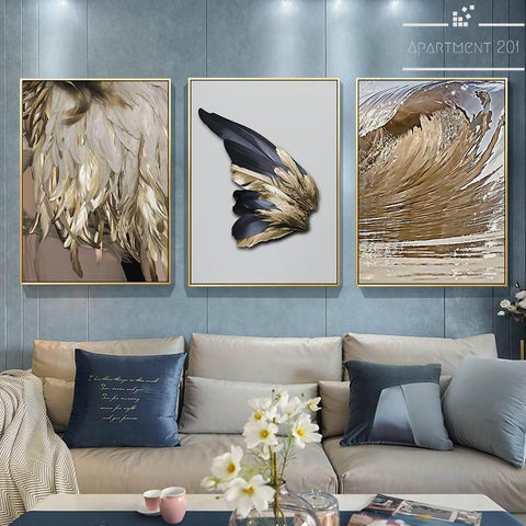 Abstract Golden Feather Canvas Wall Art