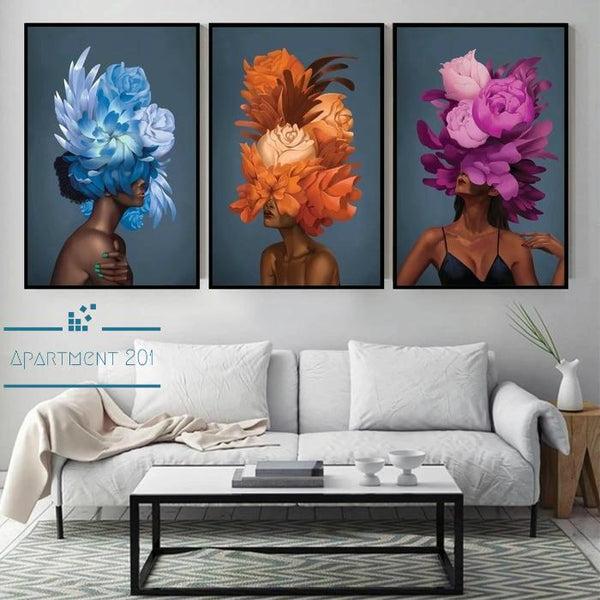 Abstract Lady Allegra Floral Canvas Wall Art - Apartment 201
