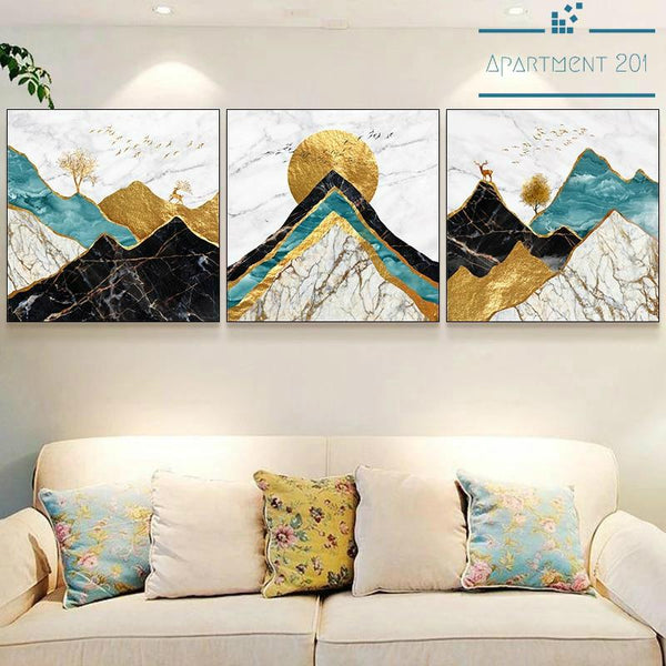 Abstract Mountain Peak Canvas Wall Art - Apartment 201