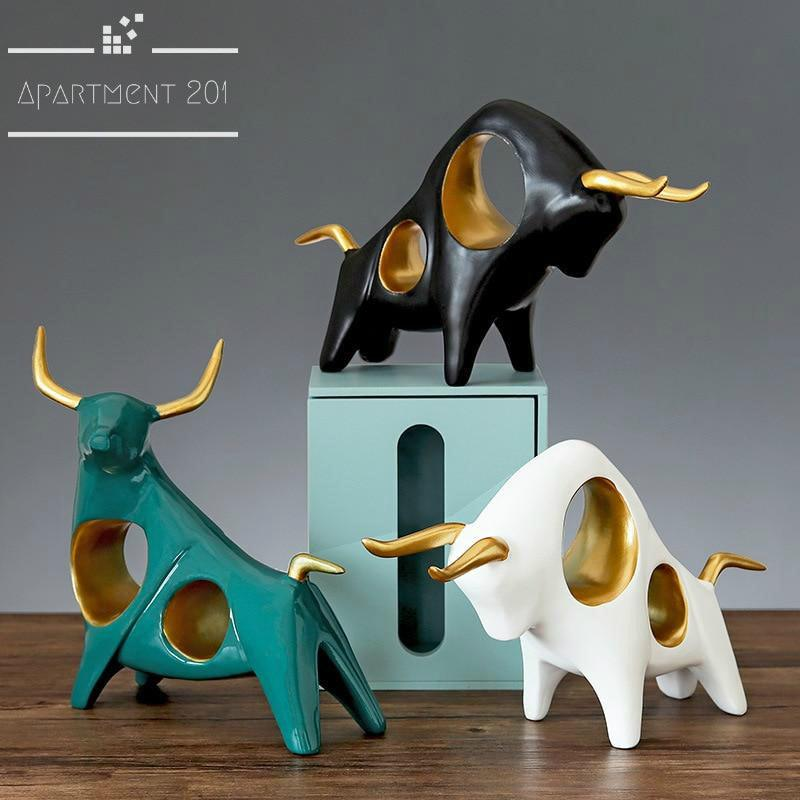 Abstract Raging Bull Figurines - Apartment 201