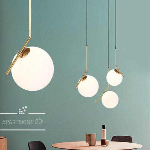 Art Deco Glass Ball Pendant Lights - Apartment 201