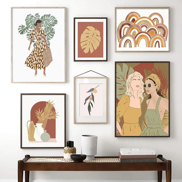 Boho Monstera Girl Scene Canvas Wall Art - Apartment 201