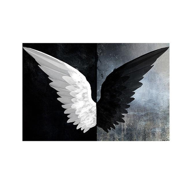 Monochrome Feathered Angel Wings Canvas Wall Art - Apartment 201