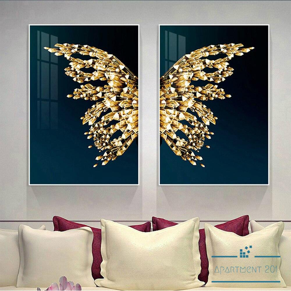 Blissful Golden Butterfly Canvas Wall Art - Apartment 201