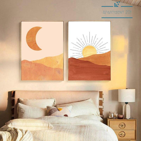 Boho Celestial Dune Canvas Wall Art