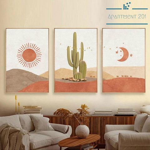 Boho Desert Cactus Canvas Wall Art - Apartment 201