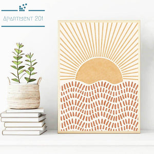 Boho Sun Rays Canvas Wall Art - Apartment 201