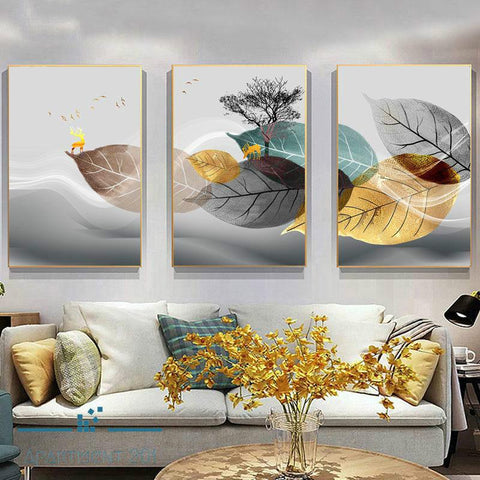 Breezy Radiant Leaves Canvas Wall Art - Apartment 201
