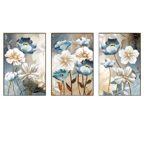 Nordic Abstract Flowers Canvas Wall Art - Apartment 201