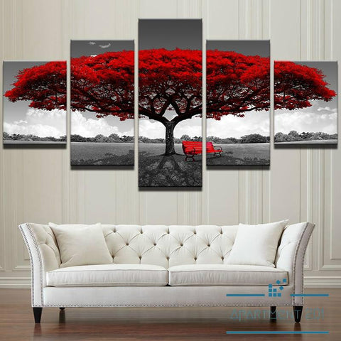 5 Panel Crimson Tree Canvas Wall Art - Apartment 201