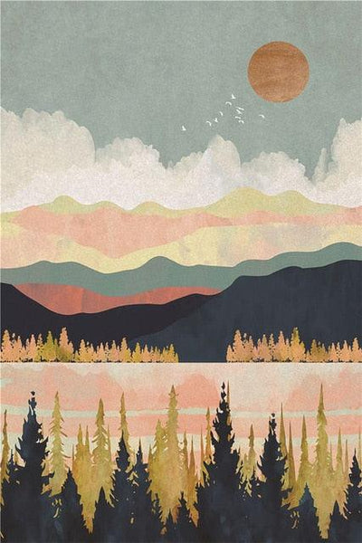 Nordic Mountain Landscape Canvas Wall Art - Apartment 201