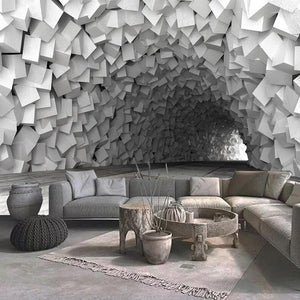 Abstract 3D Cement Wall Paper Mural - Apartment 201